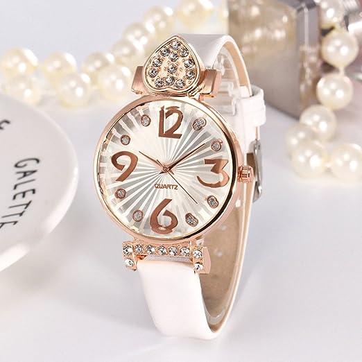 Kinlene baratos mujer relojes, casual de moda Reloj analógico de cuarzo analógico con correa de cuero de PU (Blanco): Amazon.es: Relojes