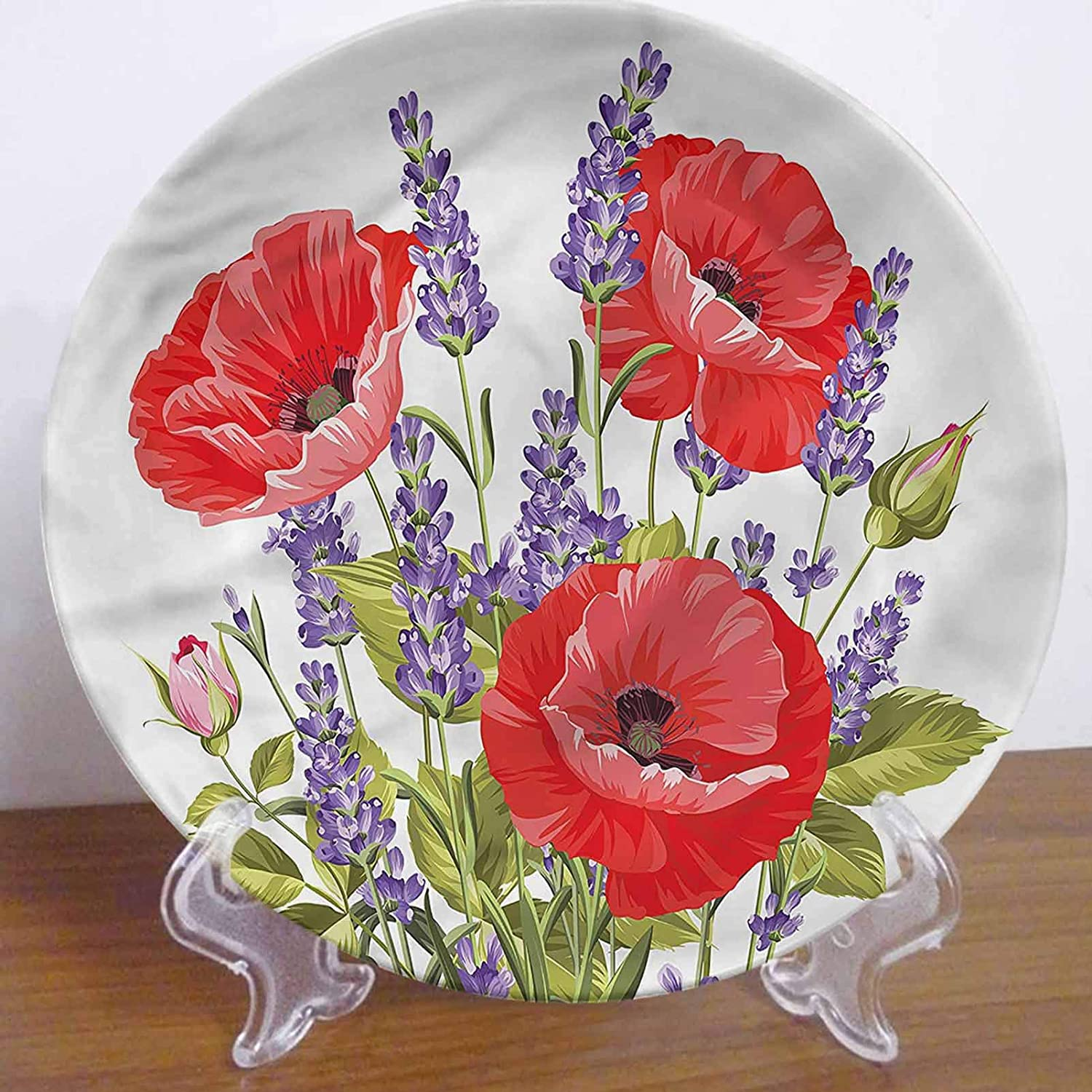 LCGGDB 6 Inch Lavender Pattern Decorative Ceramic Wall Plate,Poppy Flower Bouquet Dinner Plate Microwave & Dishwasher Safe for Home Decor