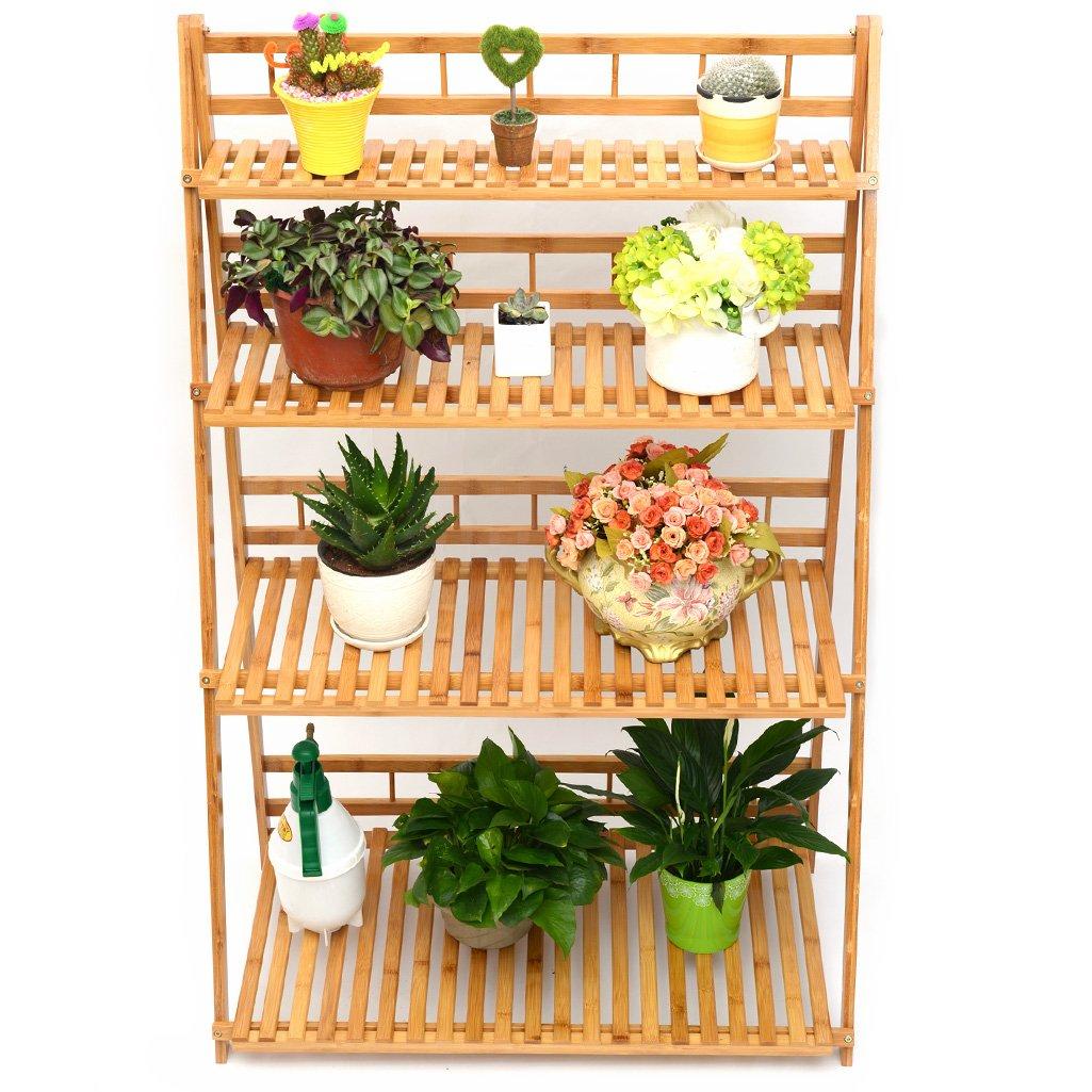 MUGIAZII Plant Flower Stand Plant Display Shelf Rack Shelf Bamboo Foldable Pot Racks Planter Storage Rack Display Shelving Unit by MUGIAZII