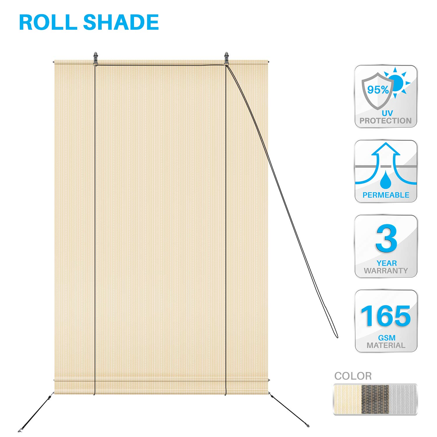 PATIO Paradise Roll up Shades Roller Shade 7'Wx6'H Outdoor Shade Blind Pull Shade Privacy Screen Porch Deck Balcony Pergola Trellis Carport Beige