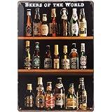 ULTNICE Vintage Metall Post Bar Zeichen Plauge Tin melden Werbung für Home Shop-Wand-Dekor, Biere der Welt Retro