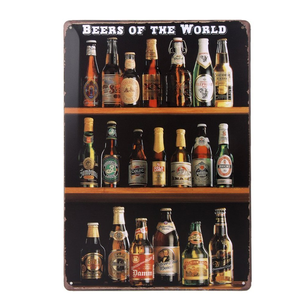 Healifty Retro Signs Tin Metal Bar Vintage Beers of the World Wall Decor Collection