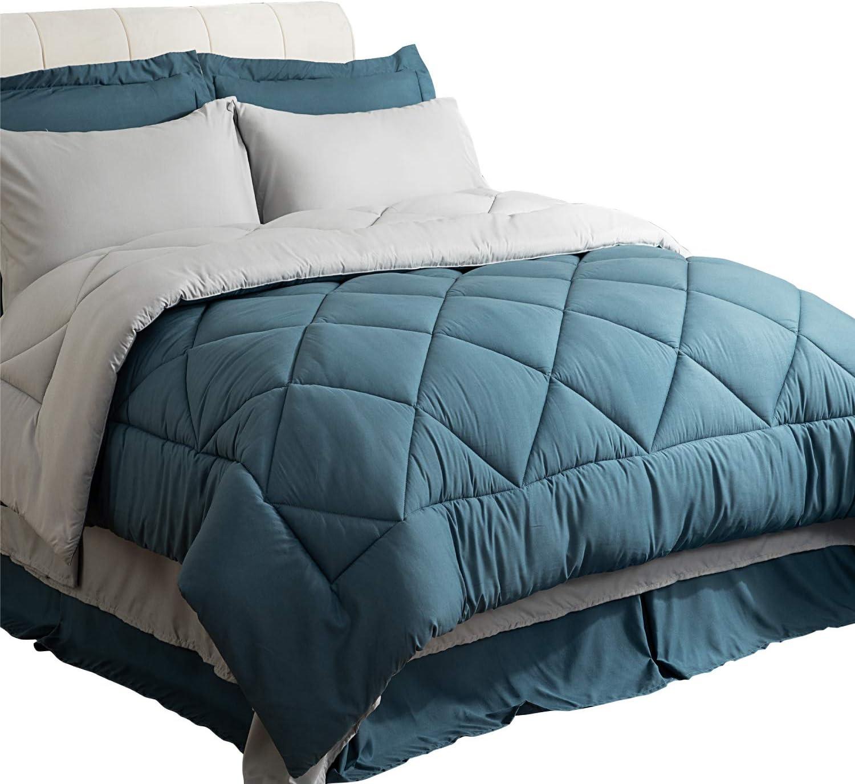 Bedsure Twin Size Bed in A Bag, Blue/Light Grey - Soft Microfiber, Reversible Bed Comforter Set 6 Pieces (1 Comforter, 1 Pillow Sham, 1 Flat Sheet, 1 Fitted Sheet, 1 Bed Skirt, 1 Pillowcase)