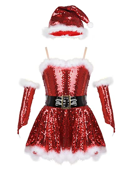 YiZYiF Disfraz Mamá Noel Niñas Vestido Danza Lentejuelas ...
