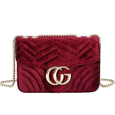 bee4406dcf693 Amazon.com  Women Crossbody bag female plaid vintage chain shoulder handbag  female Satchel Wavy pattern bag  Shoes