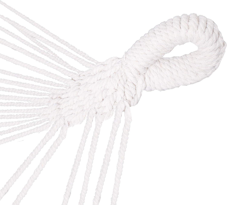Beige + Beige Kissen SPRINGOSⓇ H/ängesessel 2 Kissen H/ängematte Schaukelh/ängematte 130 x 100 cm mit Fransen beige