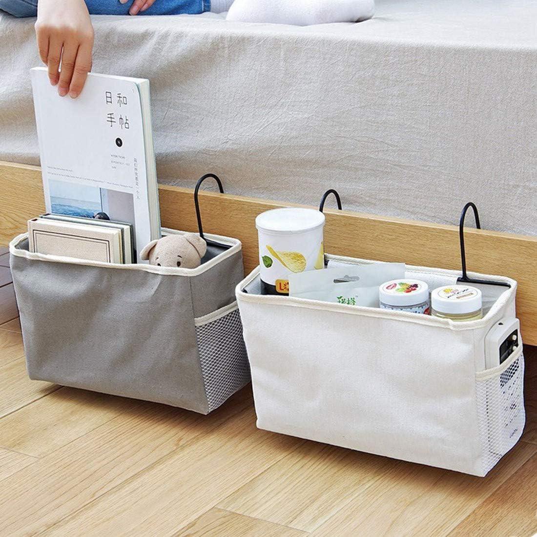 Bed Bag with Hanging Hook Mobile Phone Nati Bed Organiser Hanging Bag Cabin Bed Hanging Storage Bag Cabin Bed Hanging Bag for Book White Headphones
