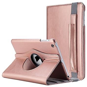 ULAK Caso del iPad Mini 1/2/3, iPad Mini 1/2/3 Funda Case Carcasa 360 Grados Gira la Cubierta sintética Estuche de Cuero para iPad Mini1/2/3 con Auto ...