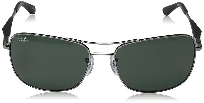 Ray-Ban Mens RB3515 Square Metal Sunglasses