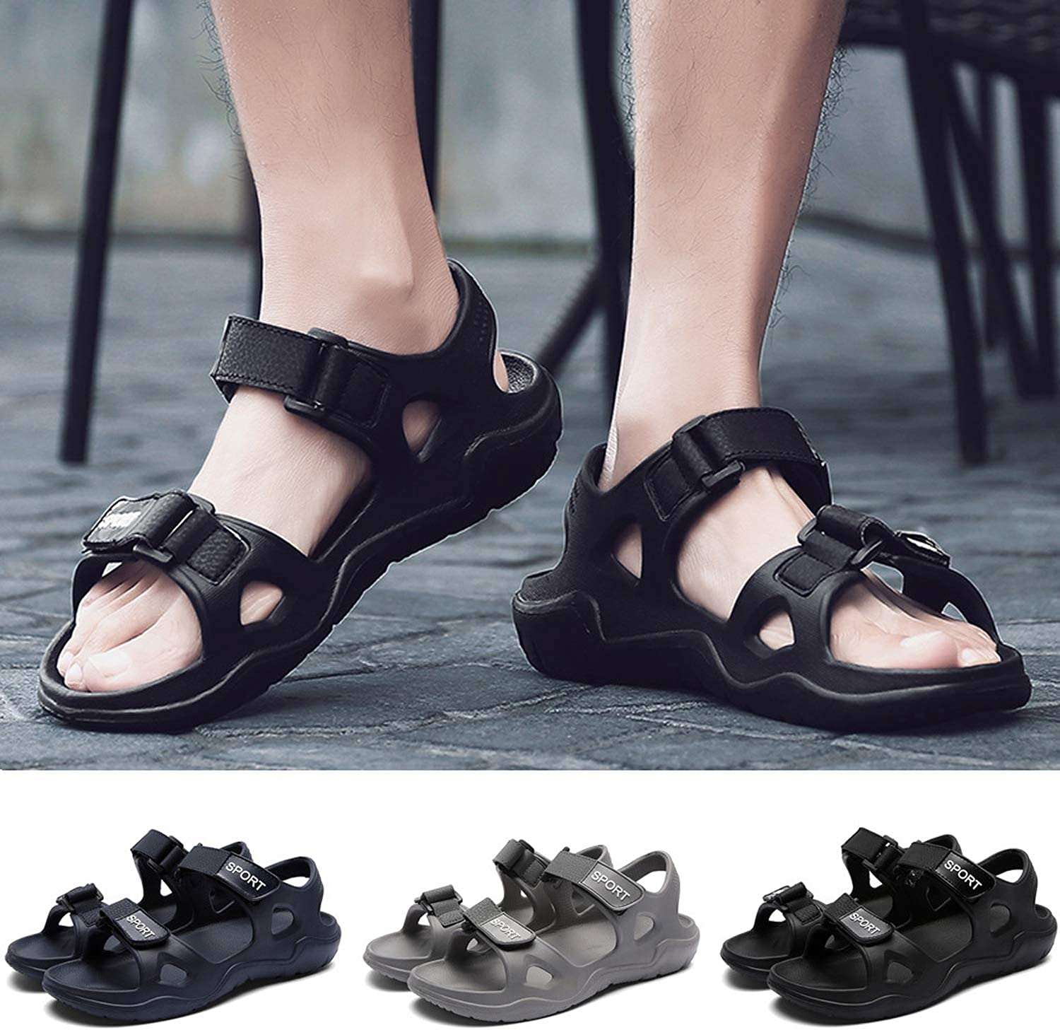 2019 New Male Shoes PU Leather Men Sandals Summer Men Shoes Beach Sandals,Gray,9.5,United States