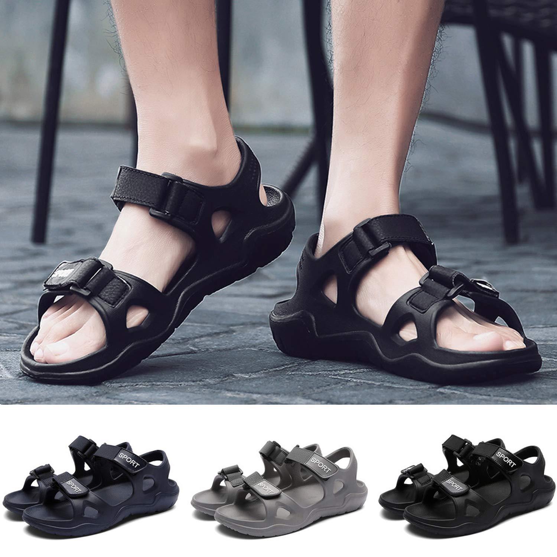 2019 New Male Shoes PU Leather Men Sandals Summer Men Shoes Beach Sandals,Black,8.5,United States