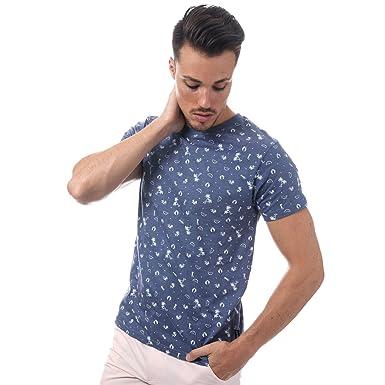 f611b7c122ff D-Struct Mens Billet T-Shirt in Navy- Short Sleeve- Ribbed Collar ...