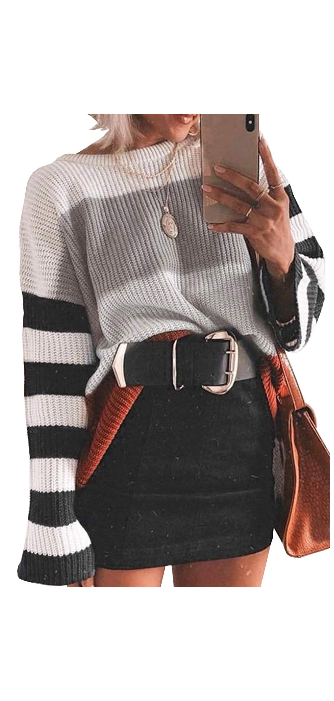Women's Color Block Sweater Oversized Striped Crew Neck