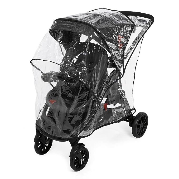 Chicco Strolln2 Silla de paseo para dos niños con asiento y patinete trasero, color negro y rojo (Lava)