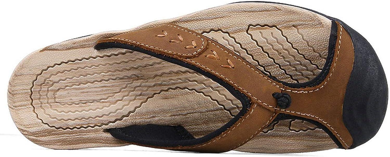 Good-Memories Summer Style Casual Beach Male Flip Flops for Men Adult Genuine Leather Soft Light Non Slip Quality Walking Slippers,Black,42