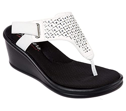 Cool Skechers Rumblers Kitty Womens Wedge Thongs Sandals