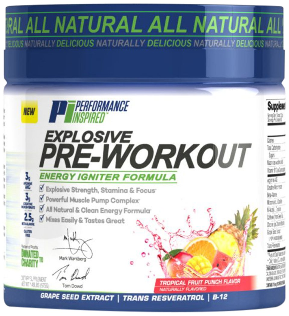Performance Inspired Nutrition Explosive Pre-Workout, Tropical Fruit Punch, 1.49 Pound