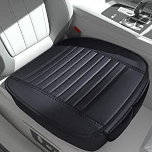 Sunny color 2pc Filling Bamboo Charcoal Edge Wrapping Car Front Seat Cushion Cover Pad Mat for Auto with PU Leather(Black)