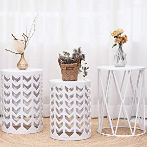 Multifunctional Nesting Round Metal Coffee End Tables, Set of 3 Modern Furniture Nightstands Decor Side Tables Plant Stand for Home Office Indoor and Garden Outdoor - White(Ship from US)