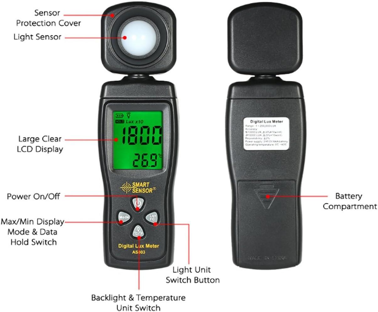 Luminance Tester Digital Lux Meter Light Meter 1-200000 Lux Tools Photometer Spectrometer Actinometer AS803 Multimeter Digital Tester
