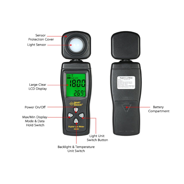 Luminance Tester Digital Lux Meter Light Meter 1-200000 Lux Tools Photometer Spectrometer Actinometer AS803 by WULE-Digital multimeter (Image #4)