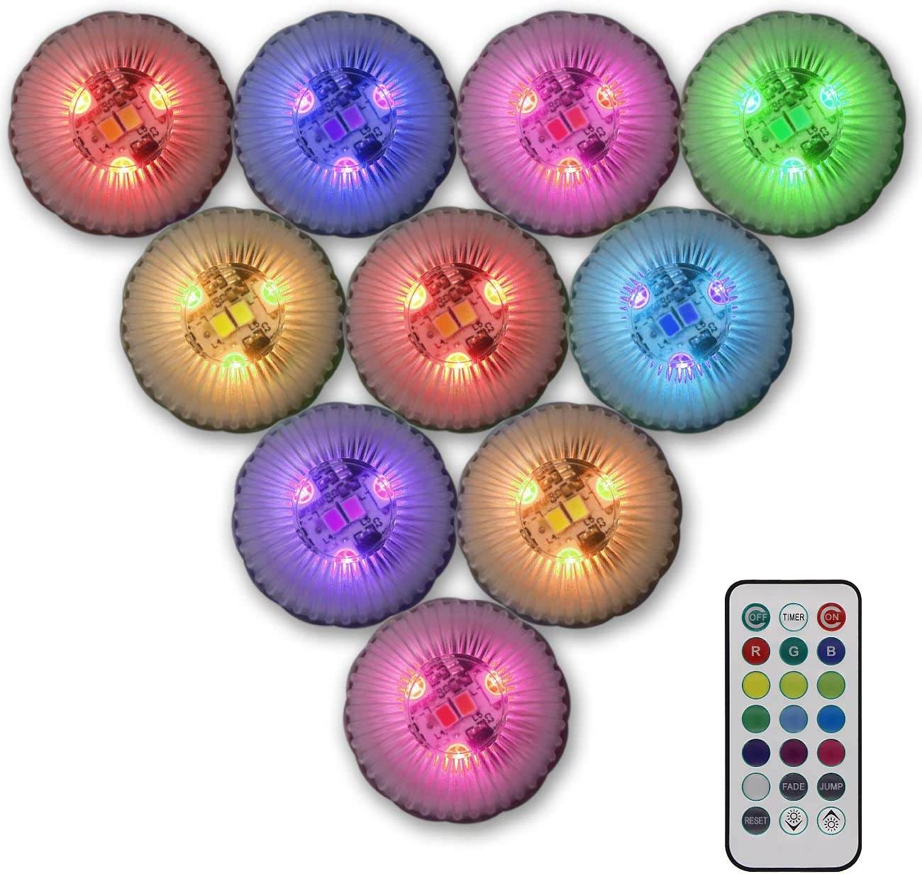 Tripop Color Changing LED Vase Lights, Battery Operated Mini RGB LED Tea Lights Waterproof with Remote 10 Pack