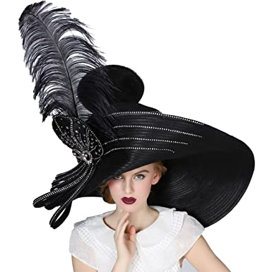 a5a584739a5b Koola Black Women Church Hat Kentucky Derby Wide Brim Wedding Cocktail  Party Hat