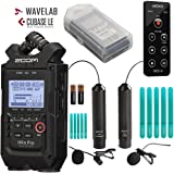 Zoom H4n PRO 4-Channel Handy Recorder Bundle with Movo Omnidirectional & Cardioid XLR Lavalier Microphones + Remote Control (All Black 2020 Version)