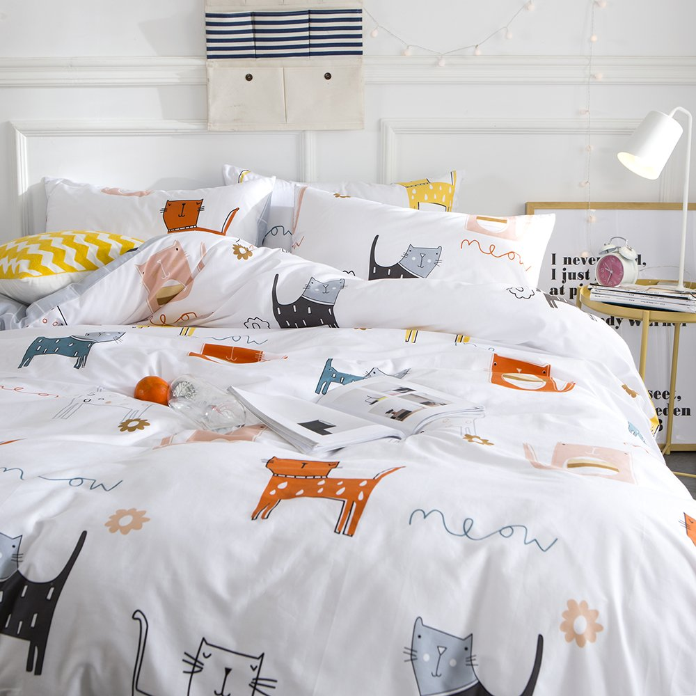 Oroa cotton cartoon puppy dog print boys girls twin bedding sets for kids children cotton 100