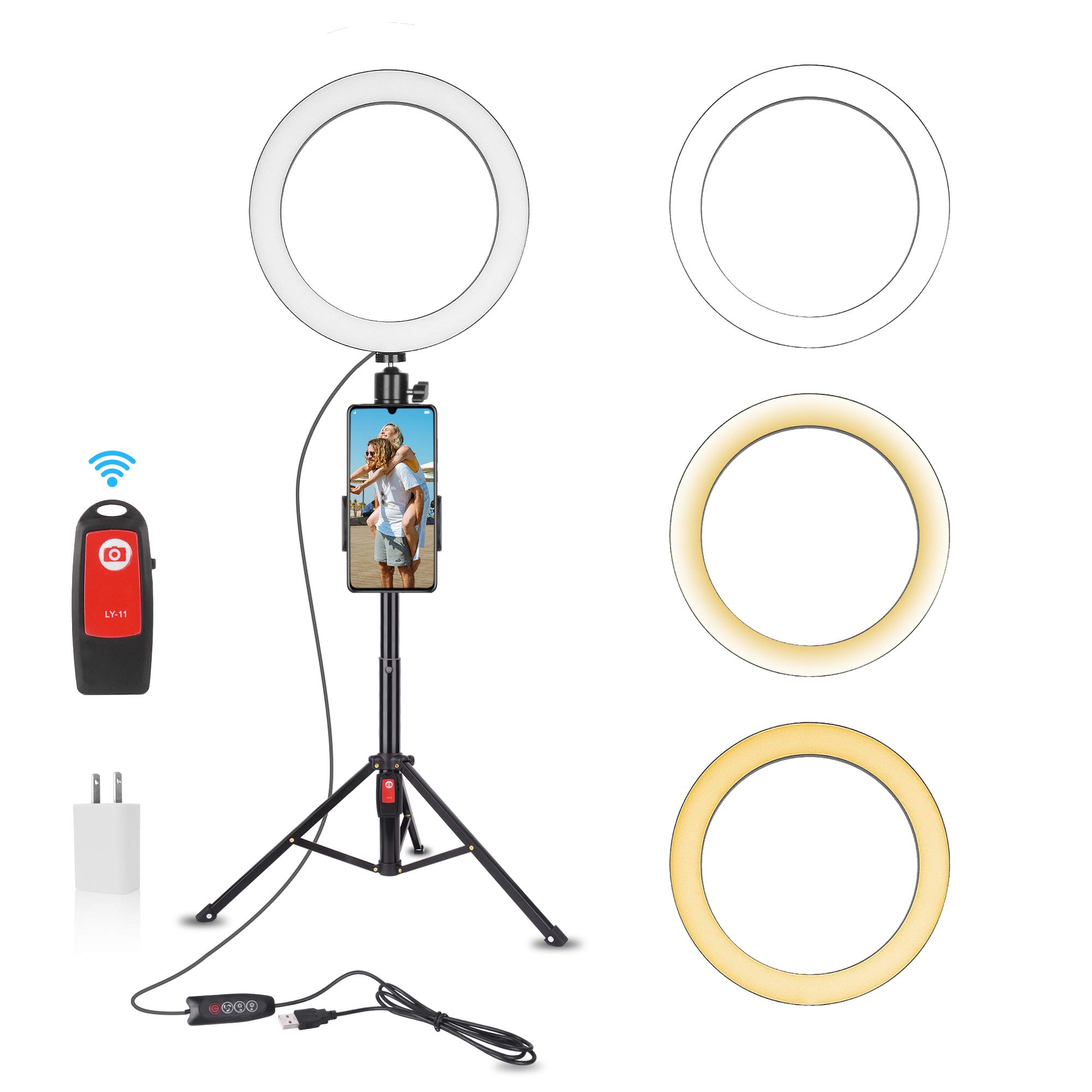 Emart 10-inch Selfie Ring Light with Adjustable Tripod Stand & Cell Phone Holder for Live Stream, YouTube Video, Makeup,Dimmable LED Camera Ringlight with 3 Light Modes & 11 Brightness Levels by EMART