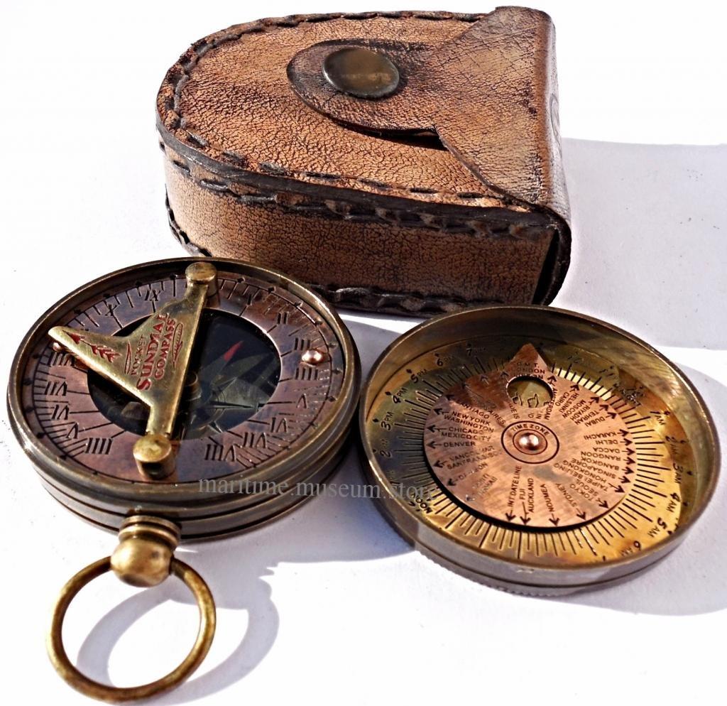 MAH Pocket Brass Sundial Compass, Both Side Work on The Bird. C-3005 by MAH (Image #1)