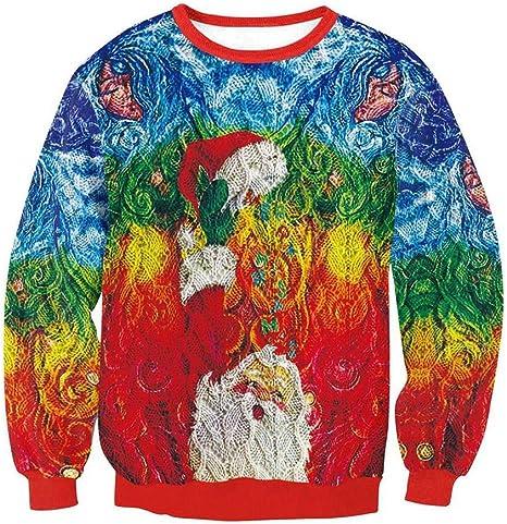 SWEAAY Jersey De Jersey De Navidad Jersey Impresión Unisex 3D Impresión Digital FEA Camiseta De Elfo De Navidad Otoño E Invierno Moda Casual Sudadera, XL: Amazon.es: Deportes y aire libre