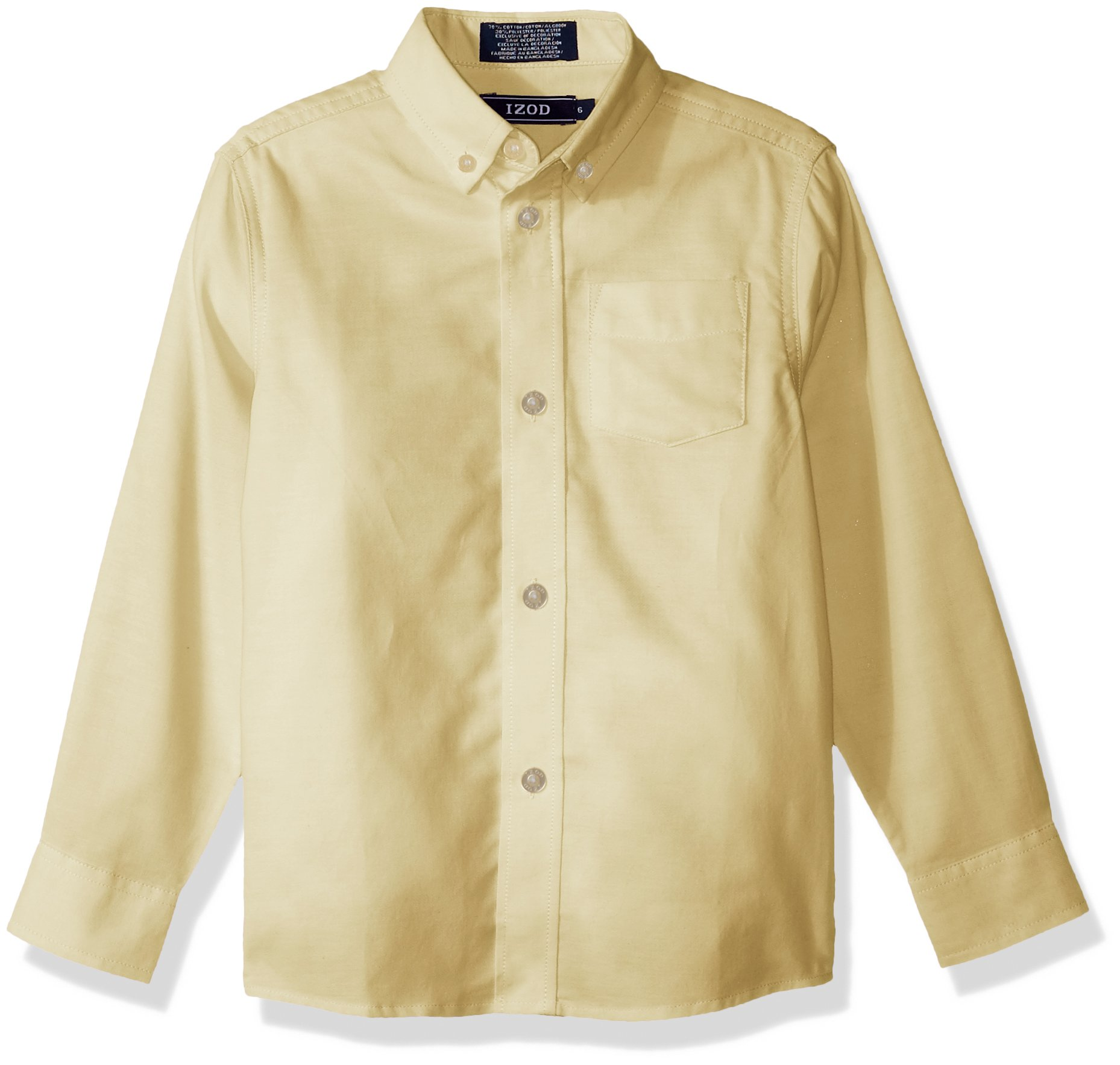 Izod boys Long Sleeve Solid Button-Down Oxford Shirt, Yellow, 5