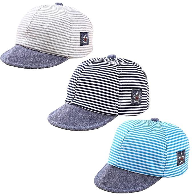 545841ad DANMY Baby Boy Baseball Cap Striped Sunhat Girl Brim Sun Protection Bow Hat  (3PCS (