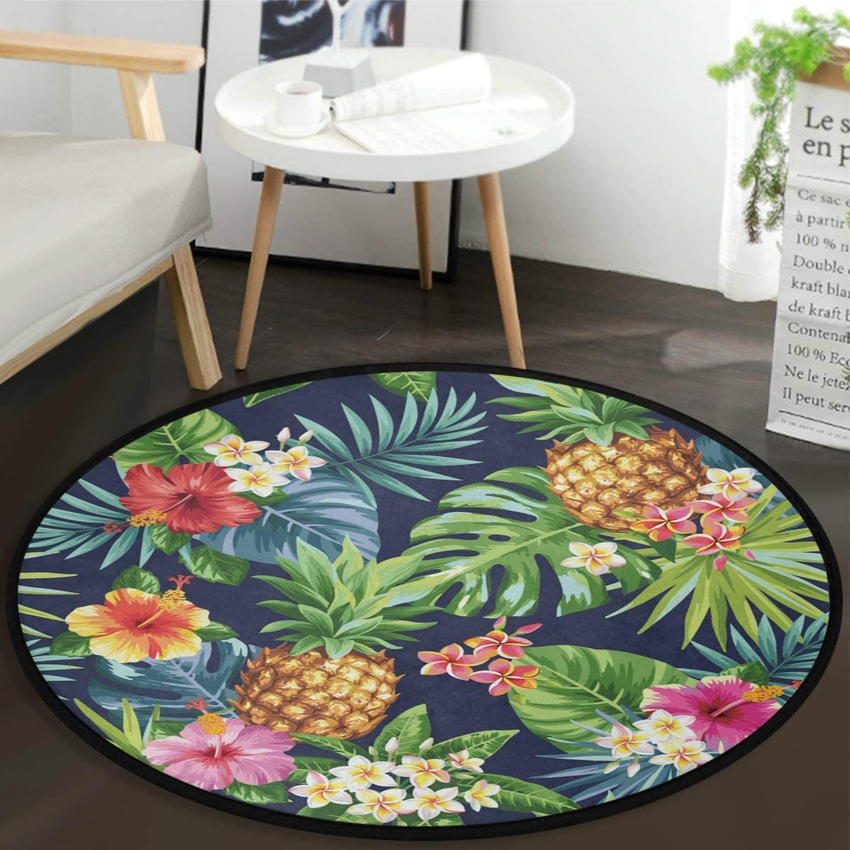 Vdsrup Tropical Sunflower Pineapple Doormat Palm Tree Leaves Floor Mats Round Washable Non-Slip Entryway Area Rug