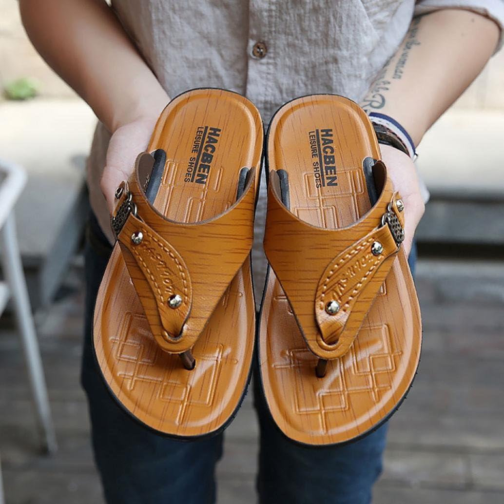 Men Summer Walking Beach Shoes Slippers Flip-Flops Comfortable Shoes Soft Leather Sandal