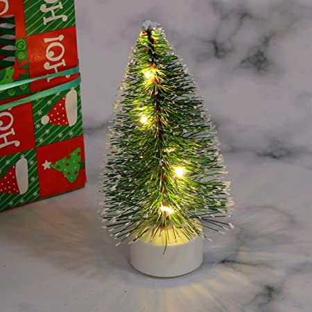 Mobestech Mini lámpara de árbol de navidad decoración pequeña luz de mesa en miniatura de árbol de pino de navidad led verde para fiesta de casa de muñecas: Amazon.es: Hogar