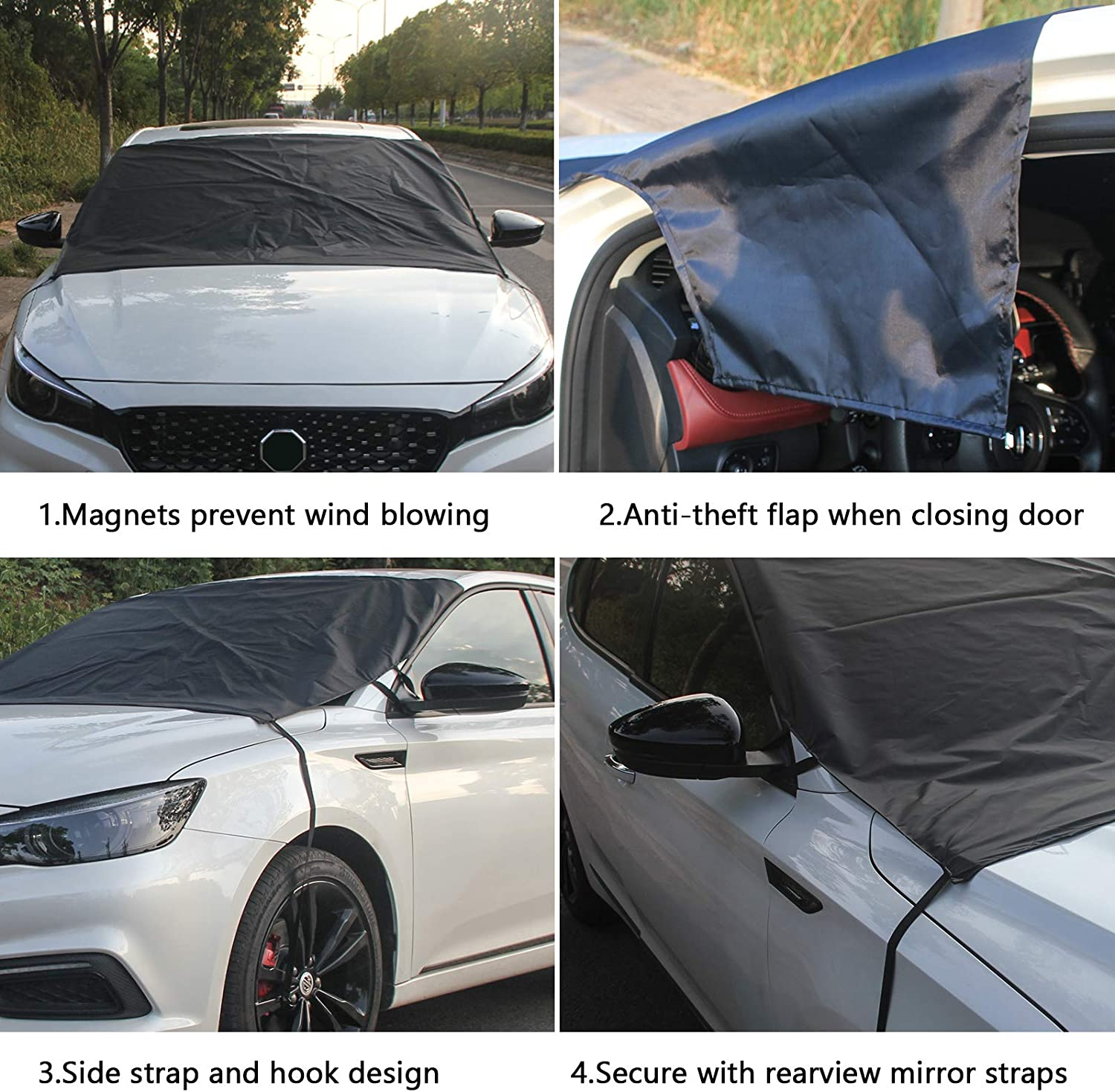 Straps Fixed Design. 2020 Newest Winter Extra Large Fits Most Car Truck SUV Van Windshield Snow Cover and Sunshade.4-Layer fabric。75x63x0.1 600D oxford cloth Frozen//Ice//Water//Snow Resistance