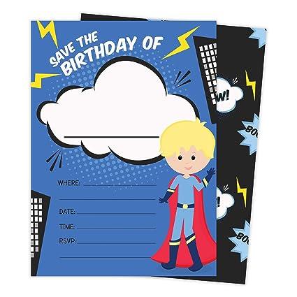 Amazon Com Superhero Boy 2 Happy Birthday Invitations