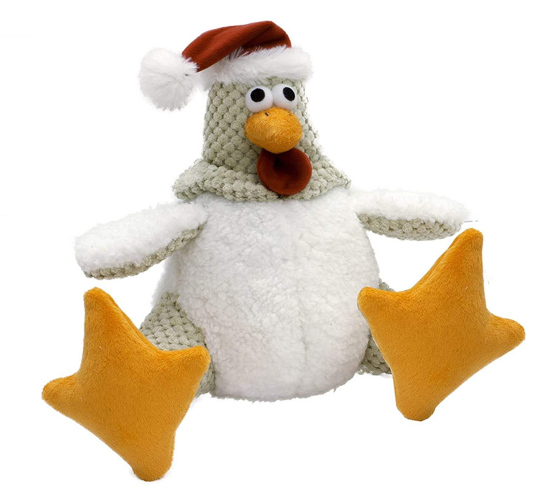 Large goDog Holiday Santa Rooster Chew Guard Technology, White, Large