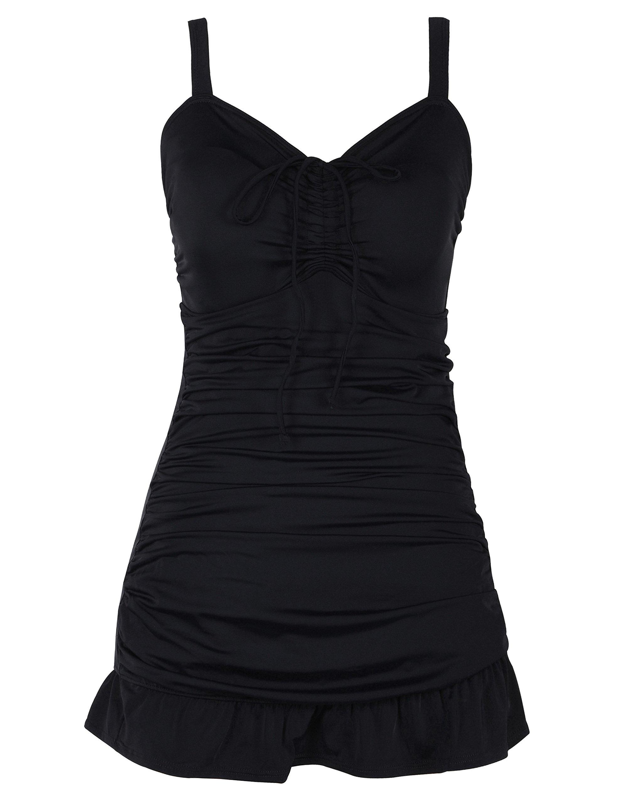 Septangle Women's One Piece Polka Dot Body Shaping Ruffled Hem Swimdress (US 16, Black)