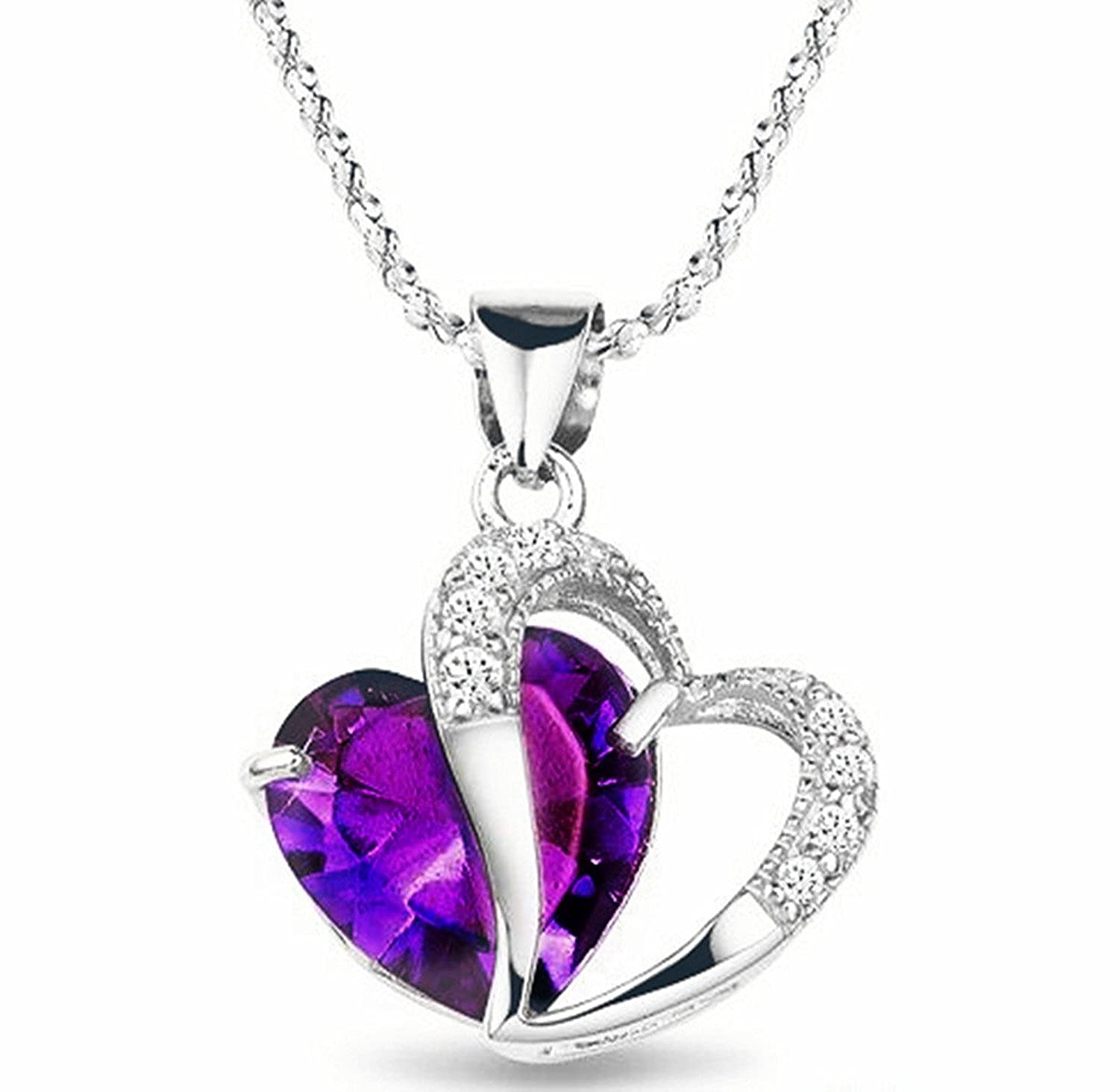 buy dark charm necklace glow pendant free in products get crystalheart the purple heart crystal