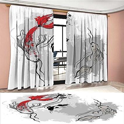 Amazon.com: Cortina de ventana japonesa con tinta, estilo de ...