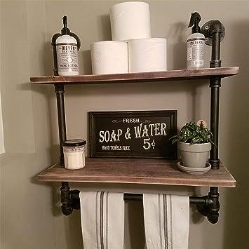 Amazon Com Industrial Pipe Bathroom Shelf Rustic Wall Shelves With Towel Bar 24 Towel Racks For Bathroom Framhouse Floating Shelving Unit Storage 2 Tier 24 Home Improvement