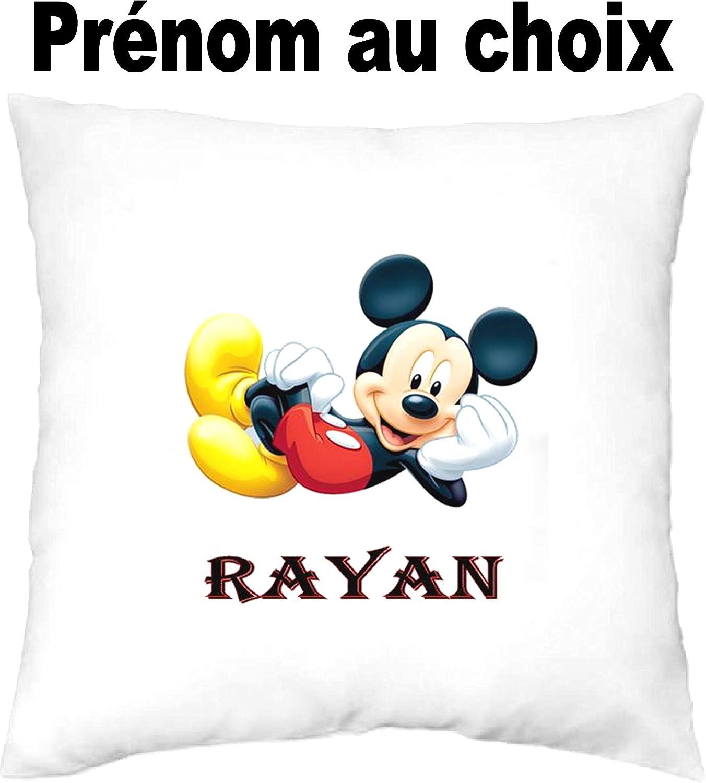 MILLE ET UN KDO Housse de Coussin personnalis/ée Mickey pr/énom au Choix