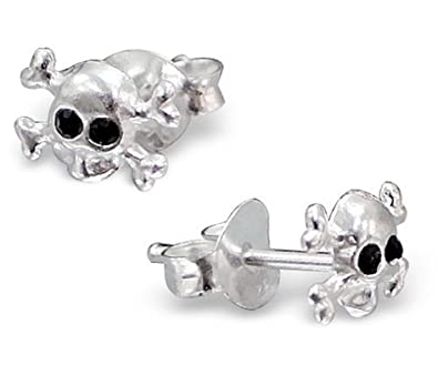 7672f4937 Pair of Extra Small/Discreet Skull and Crossbones Sterling Silver Stud  Earrings with Black Crystal Eyes: Amazon.co.uk: Jewellery