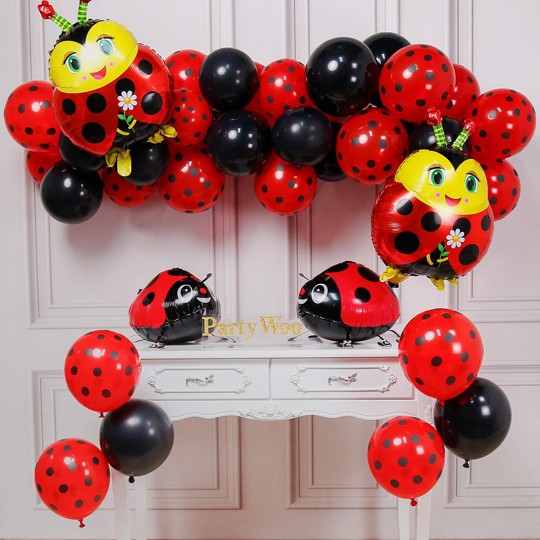 PartyWoo Ladybug Balloons, 44 pcs Red Polka Dot Balloons, Black Balloons, Ladybug Mylar Balloons, Walking Ladybug Balloons for Ladybug Birthday Party, ...