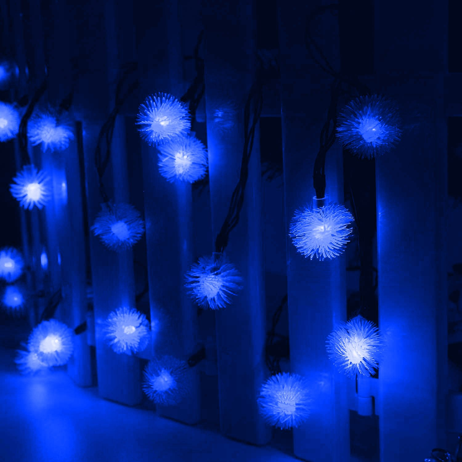 TOPCHANCES Solar String Lights, 16ft 20 LED Solar Outdoor String Dandelion Ball Solar Power Waterproof String Lights for Outside Garden Camping Patio Party Christmas (Blue)