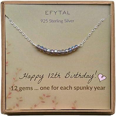 Amazon.com: Efytall - Collar de plata de ley con 12 ...