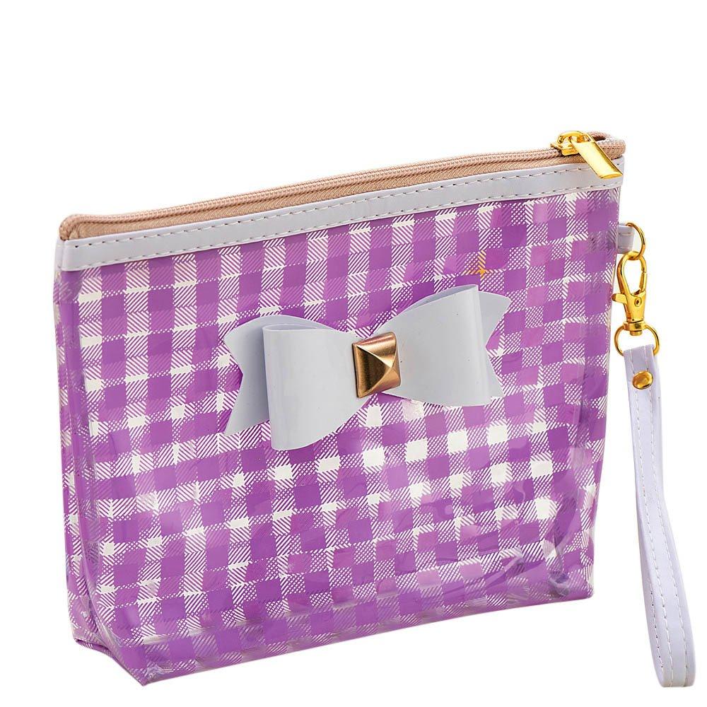 23046bb9ee7d Amazon.com : Bowknot Waterproof Cosmetic Lattice Big Bag Storage Bag ...